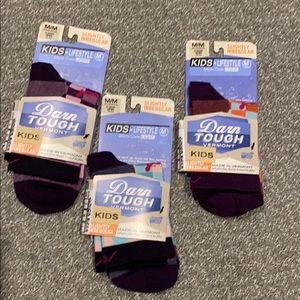 New (3 Pair) Darn Tough Vermont Kids Socks M